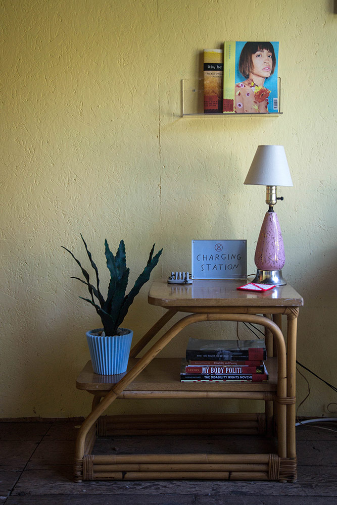 a charging station with a lamp and plant