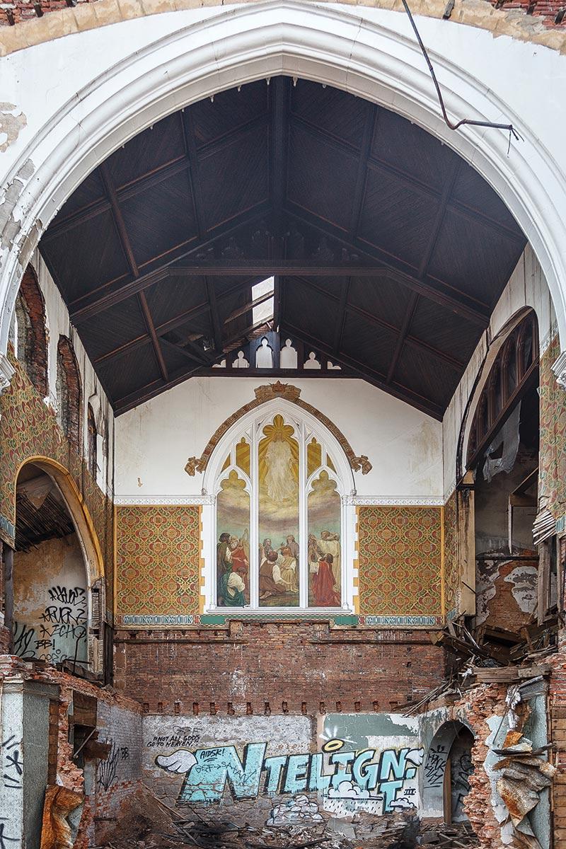 Graffiti in an abandoned church