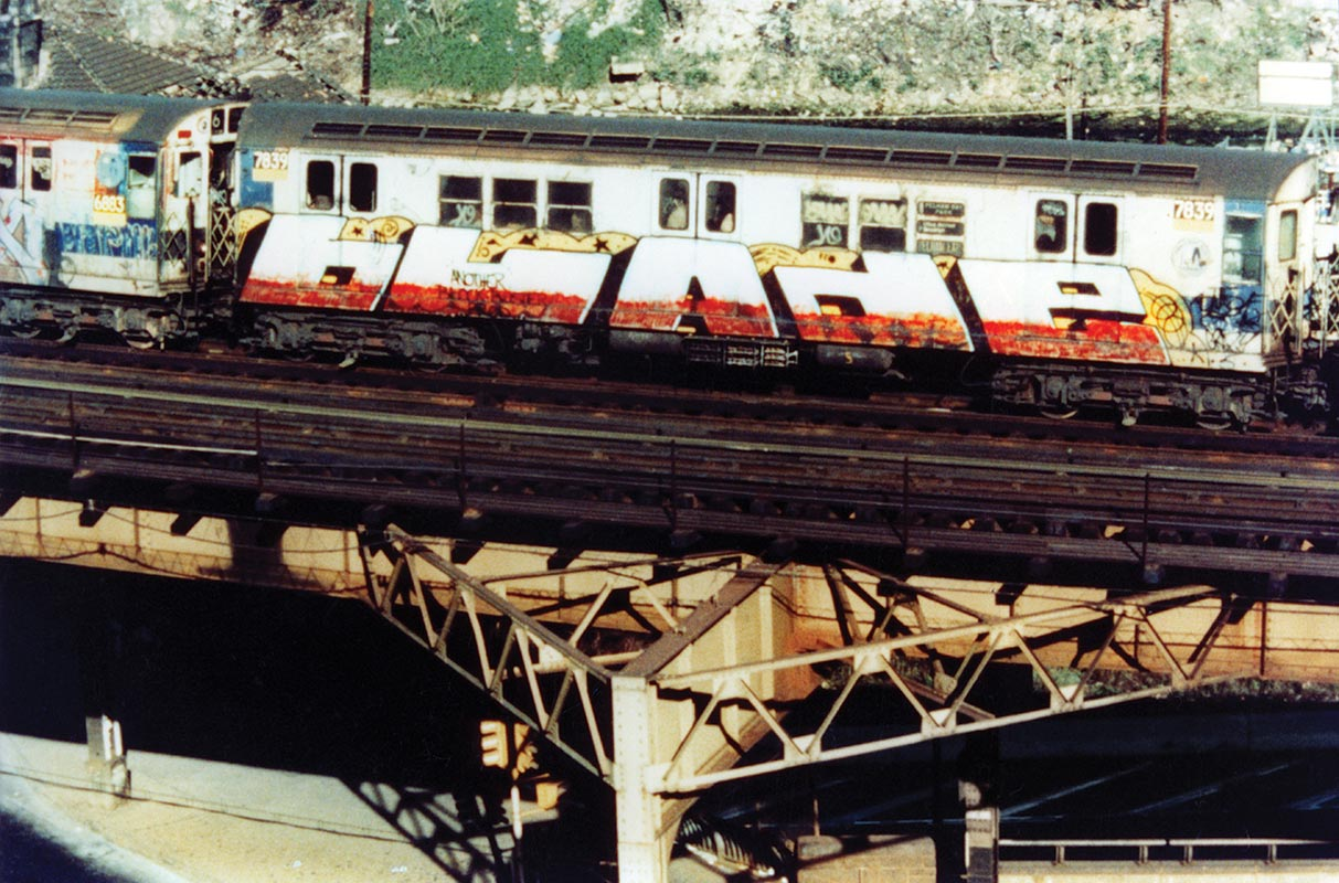 Subway car painted with BLADE