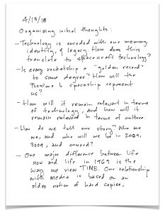 Handwritten notes about space and time