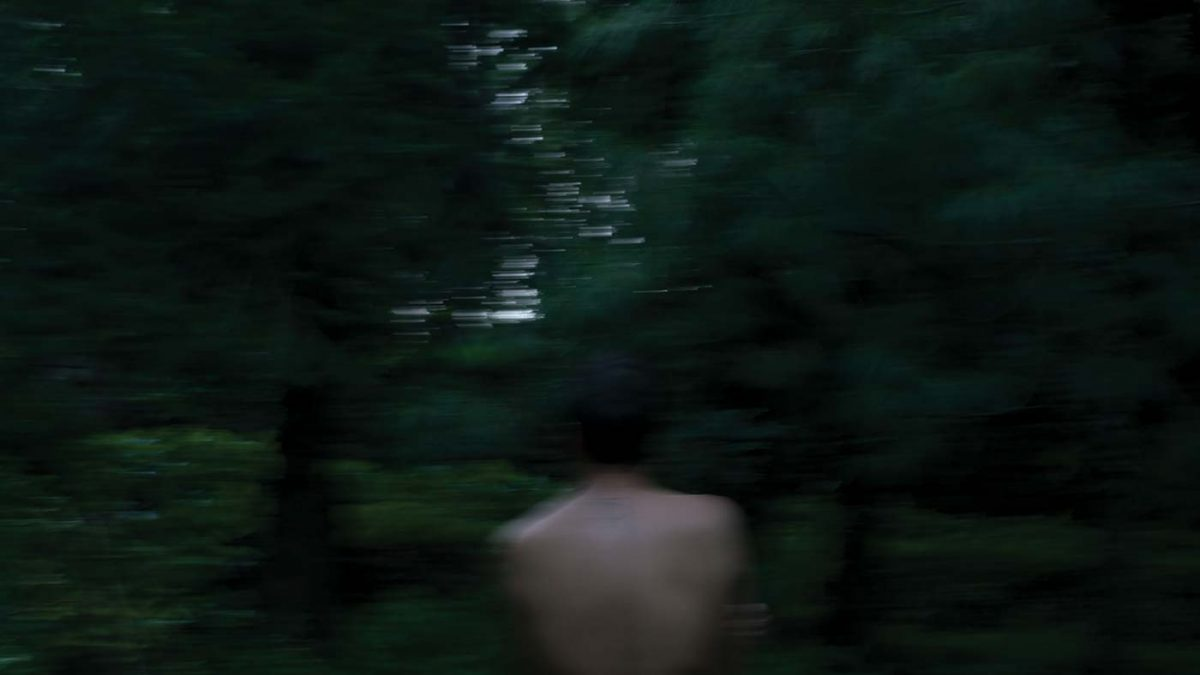 A shirtless man in the woods seen from behind