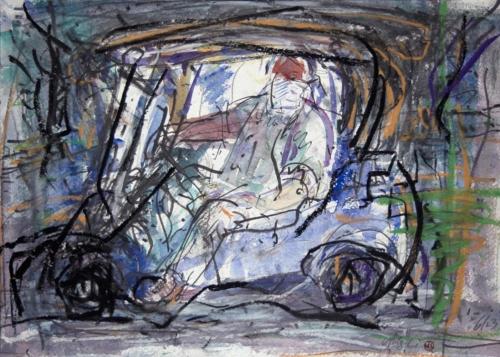 a man in a golf cart