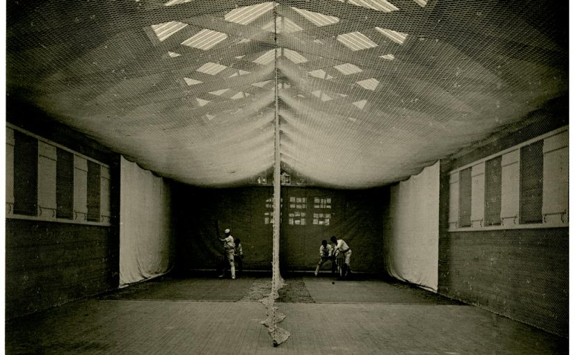 Inside a cricket shed.