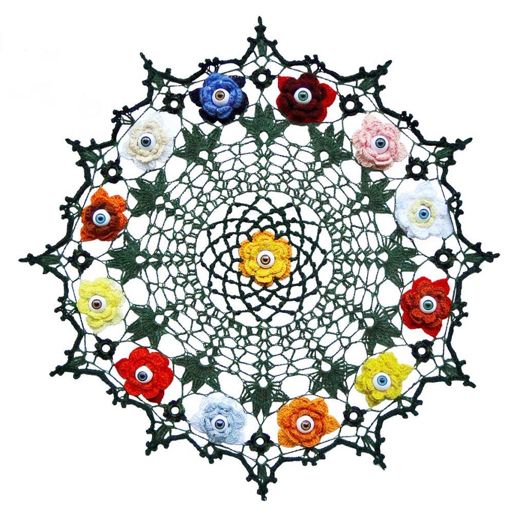 A kaleidoscope style quilt