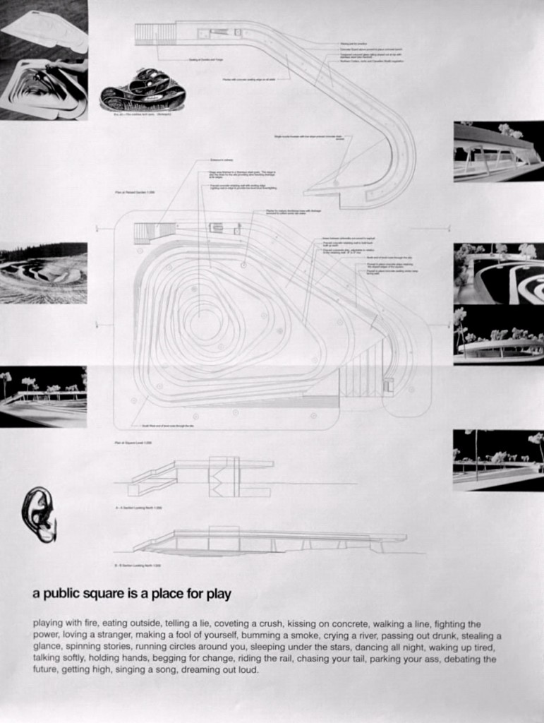 """Dundas Square unofficial competition entry, 3 posters, 24"""" x 36"""" each (Toronto), 1998, drawings: Adrian Blackwell."""