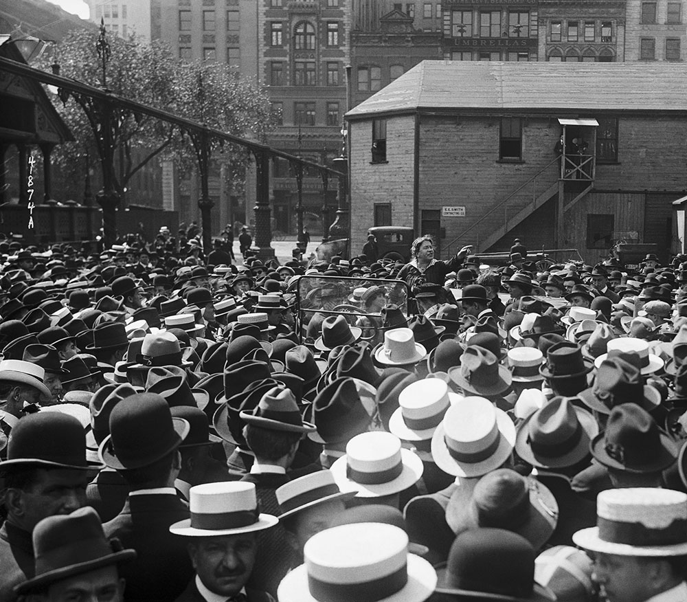 Emma Goldman speaking to a crowd of garment workers about birth control in Union Square, New York City, May 1916.