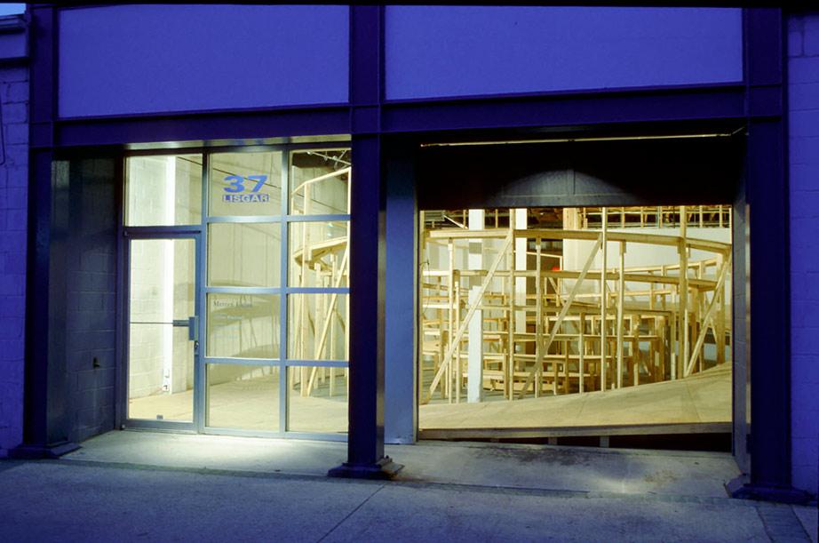 Model for a Public Space, plywood construction (Architecture Gallery at the University of Manitoba, Winnipeg and Mercer Union, Toronto) 2000. Photo 1: Rafael Gomez-Moriana, Photo 2: Mercer Union.