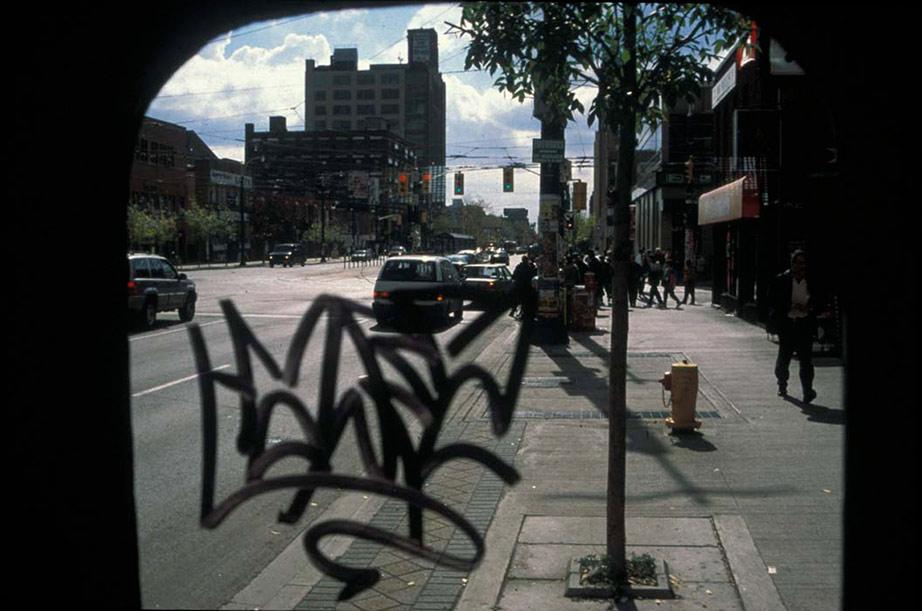 Public Water Closet, modified portable toilet, 2-way mirror glass (Ottawa and Toronto), 1998, photos: Adrian Blackwell.