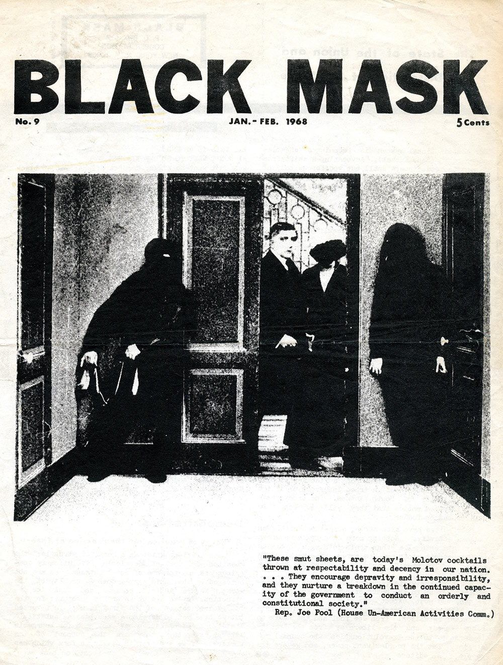"Black Mask, Black Mask Issue No. 9, January-February 1968, Offset print on paper, 13 x 10"", Courtesy Sean Stewart/Babylon Falling"