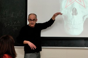 Mohamed El Baz in Professor Carol Solomon's Curatorial Praxis class.  Courtesy of Lisa Boughter.
