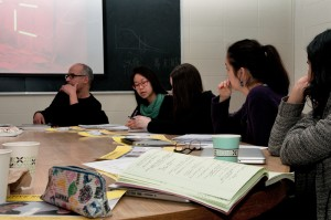 Students in Professor Carol Solomon's Curatorial Praxis class with artist Mohamed El baz (left).  Courtesy of Lisa Boughter.