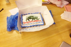 End-of-class cake. Photo by Cora Johnson-Grau. Cake by Professor Carol Solomon. Artwork by Mohamed el Baz.