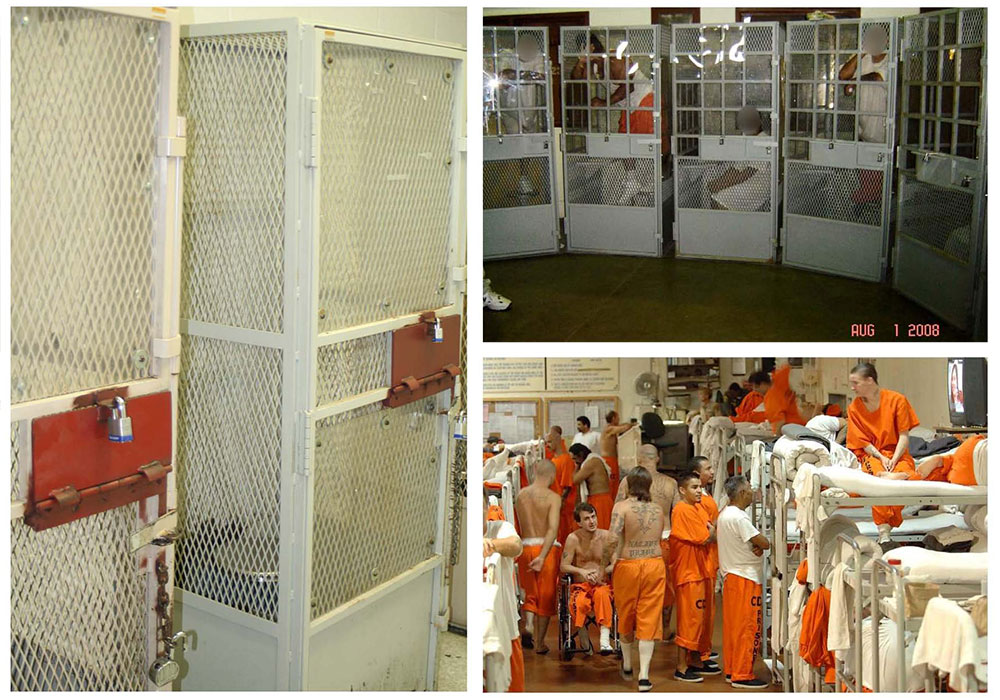 Three photos illustrating the overcrowding in prisons.