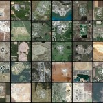 A mosaic of Google Map satellite images of prisons in America.