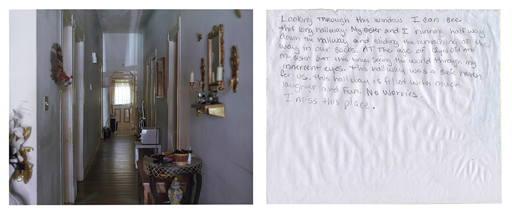A picture of a hallway next to a letter from a prisone describing a happy memory of the hallway.