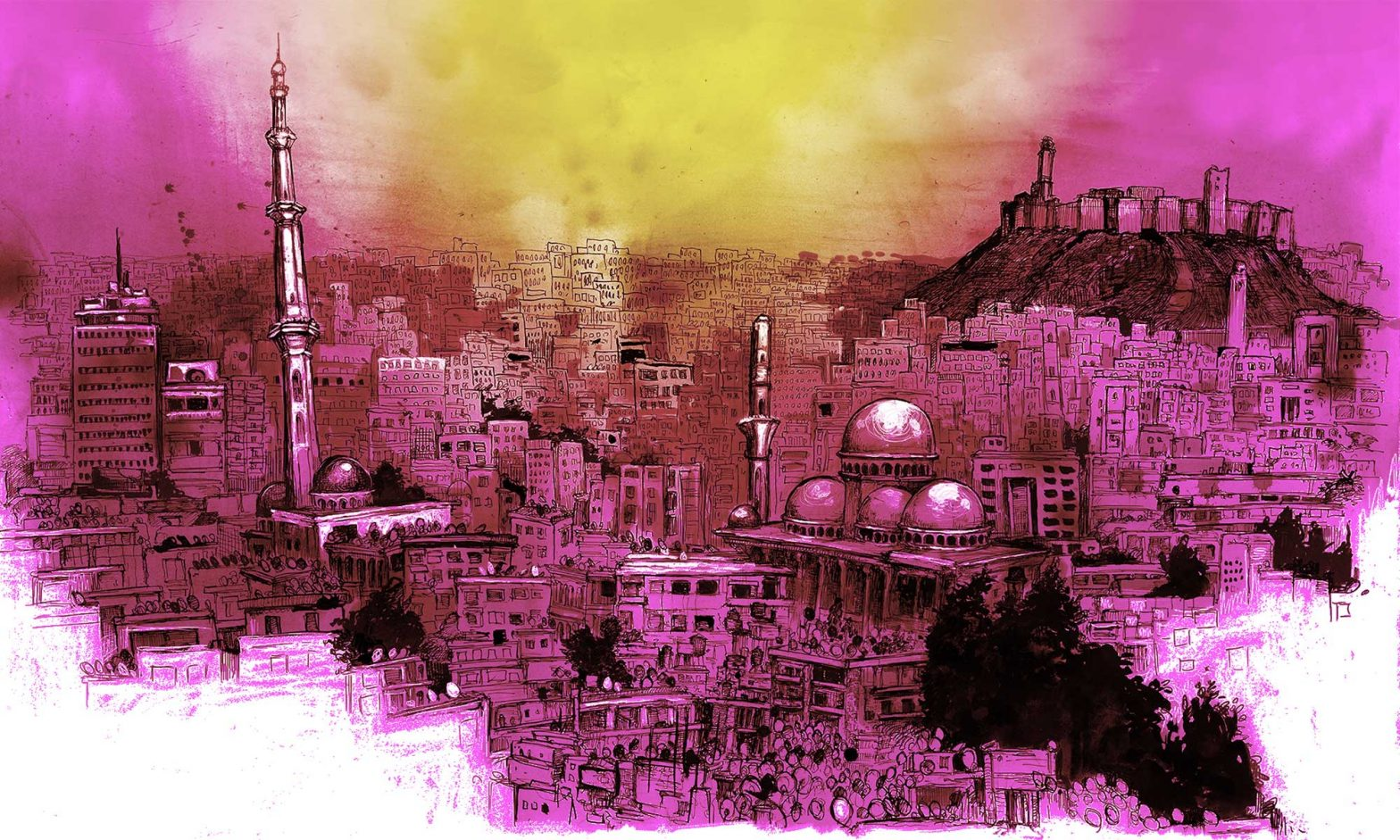 Ink drawing of Syrian cityscape