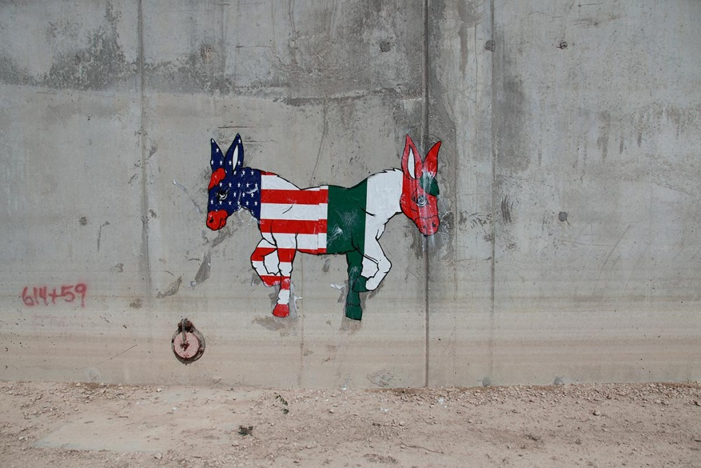 Ron English Two-Headed Donkey on the U.S.-Mexico Border Wall, c. 2011 Collection of the Artist