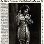 A clipped newspaper article of Eartha Kitt surrounded by text.
